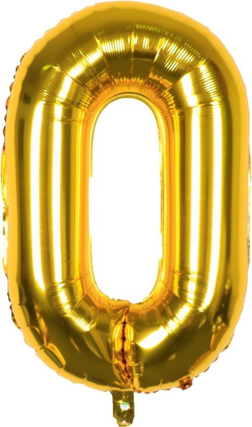 Cijfer Ballonnen - Cijfer Ballon Goud - Cijfer 0 Ballon - 82 cm Hoog - Ballonnen Verjaardag - Feestversiering - 10 jaar - 40 Jaar - 50 Jaar - 60 Jaar - 100 Jaar - Fienosa
