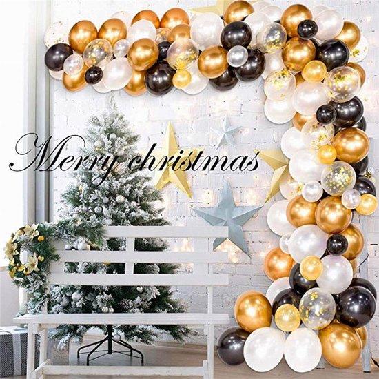 Ballonnenboog - Kerst - Oud en Nieuw - Zwart - Goud - Wit - BIEK20 - 120 ballonnen