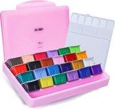 HIMI - Gouache - set van 24 kleuren x 30ml - in kunststof opbergbox roze