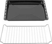 ICQN Bakplaat & Rooster Set Voor Oven - 422 x 375 x 30 mm - Verchroomd ovenrooster en geëmailleerde bakplaat