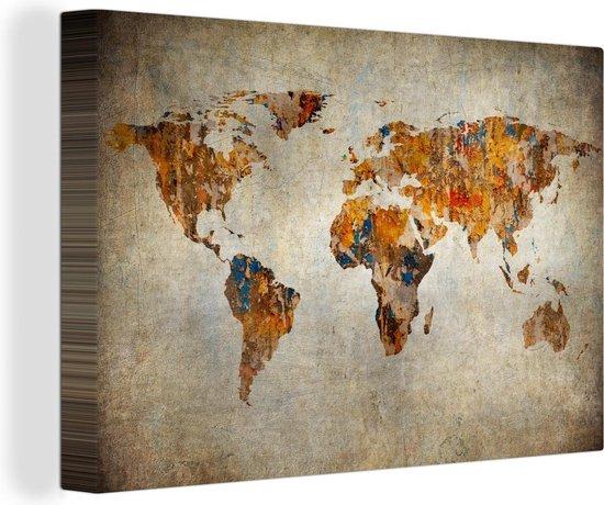 Canvas Schilderij Wereldkaart - Vintage - Abstract - 120x80 cm - Wanddecoratie
