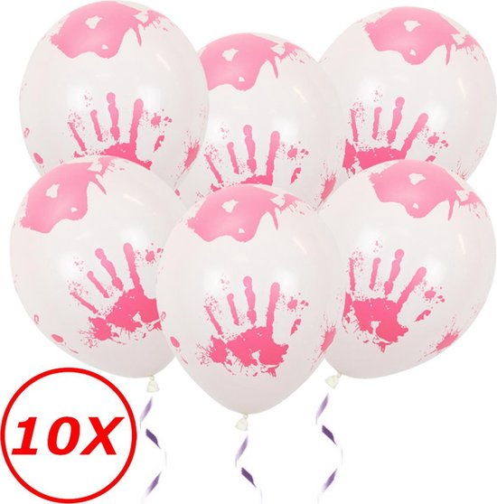 Halloween Decoratie Versiering Witte Helium Ballonnen Feest Versiering Halloween Accessoires Bloed afdruk – 10 Stuks
