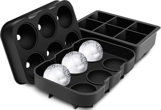 BECIO IJsblokjesvorm – 6 XL IJsballen en 6 IJsblokken – Luxe IJsblokvormen met Deksel Trechter en E-Book – Whiskey Ice Cube Tray – Siliconen – Zwart