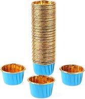 SVH Company – 50 Stuks Muffin Cupcake Bakvormen – Luxe Papieren Bak Vormpjes – Blauw / Goud