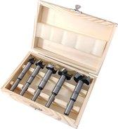 5 Delige scharnierboor forstnerboor scharniergat boor set 15 - 35 mm in houten opbergdoos