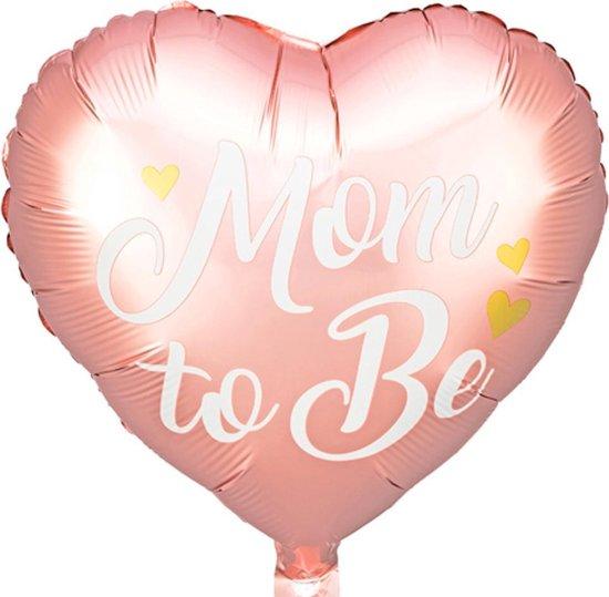 Folieballon Hart Rosé Goud Mom to Be - 35 centimeter