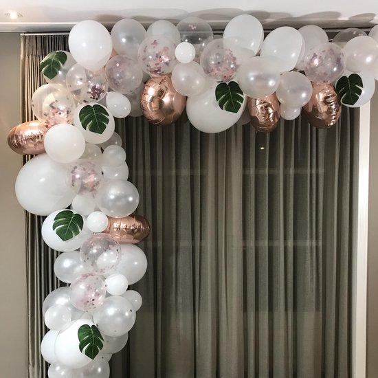 Ballonnenboog Wit Rose Goud - BIEK20 - incl. ophanghaakjes - Feest Versiering - Party Decoratie - Ballon - Verjaardag