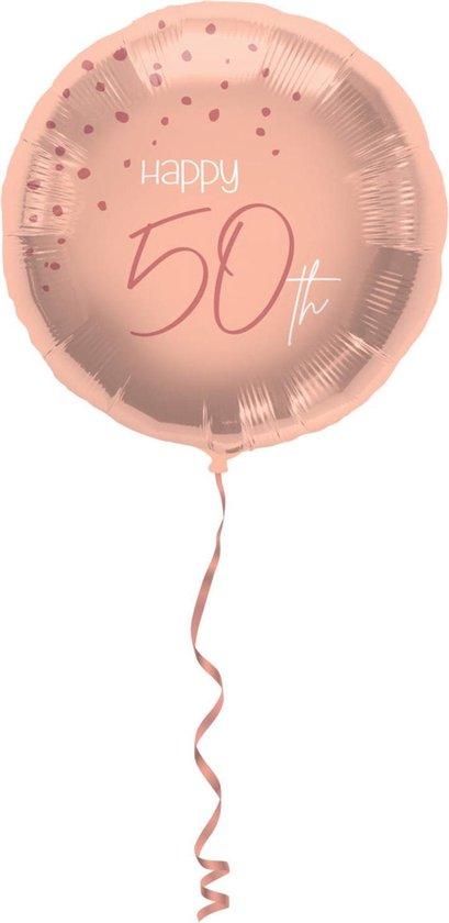 Folieballon - 50 jaar - Luxe - Roze, roségoud, transparant - 45cm - Zonder vulling