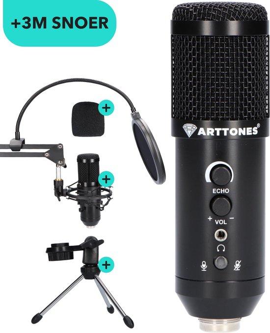 Arttones® Toulouse Gaming Microfoon & USB Microfoon voor PC – Condensator Microfoon met Arm, Microfoon Standaard & Tripod - Black Friday