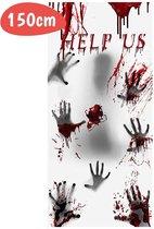 Deurposter Halloween Bloed - Nepbloed - Fake Blood - Horror - Handafdrukken - Helloween Versiering - 150x77cm