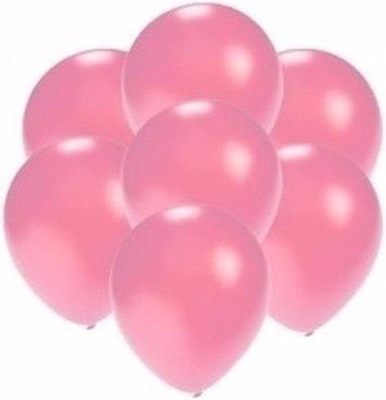 Kleine metallic roze party ballonnen 30x stuks van 13 cm - Feestartikelen/versieringen