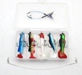 Kunstaas set voor roofvis - incl GRATIS onderlijn - pluggen met haak - perfect voor snoek / baars - set 1doosje 5 kunstaas