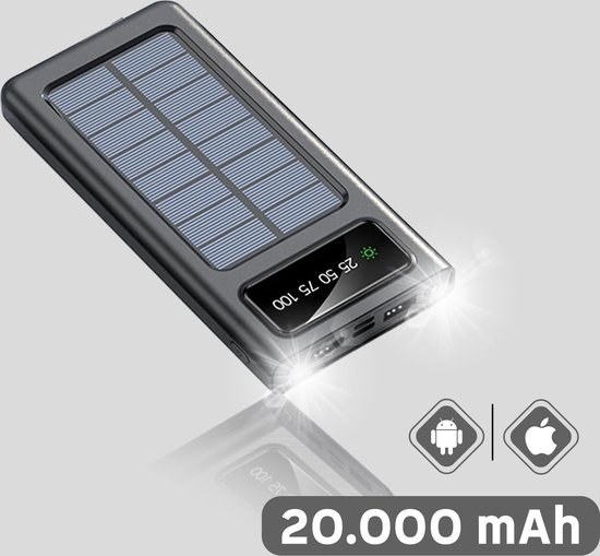 Solar Powerbank op Zonne- Energie - 16.000 mah - Kabel - Flashlight - USB C - Rosé Goud