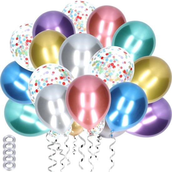 Partizzle® 50x Chroom Metallic Helium en Confetti Feest Ballonnen - Verjaardag Versiering - Regenboog Ballonnenboog Maken - Latex