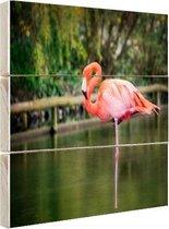 Een roze flamingo Hout 120x80 cm - Foto print op Hout (Wanddecoratie)