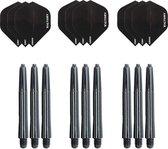 3 sets (9 stuks) Super Sterke Zwarte Poly XS100 - flights - en 3 sets (9 stuks)  zwarte - shafts