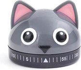 Kikkerland Kookwekker - In een vorm van een kat - 60 minuten timer - Keuken accessoires
