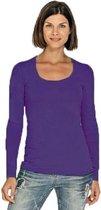 Bodyfit dames shirt lange mouwen/longsleeve paars - Dameskleding basic shirts M (38)