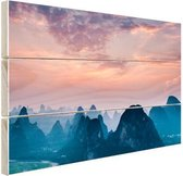 Berg horizon Hout 120x80 cm - Foto print op Hout (Wanddecoratie)