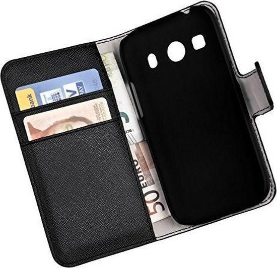 Zwart Samsung Galaxy Ace 4 Bookcase Flip Wallet Cover Hoesje