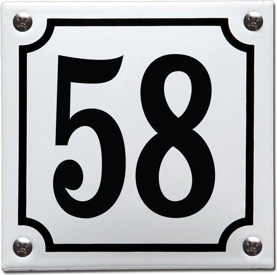 Emaille huisnummer wit/zwart nr. 58