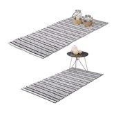 relaxdays - vloerkleed - loper tapijt - handgemaakt - 80x200   70x140 cm katoen