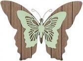 1x Tuindecoratie bruin/mint groene houten vlinders 28 cm - Tuinvlinders