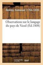 Observations Sur Le Langage Du Pays de Vaud