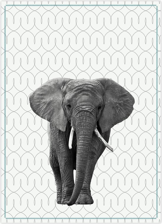 Tea towel Elephant w. cotton petrol blue stitch