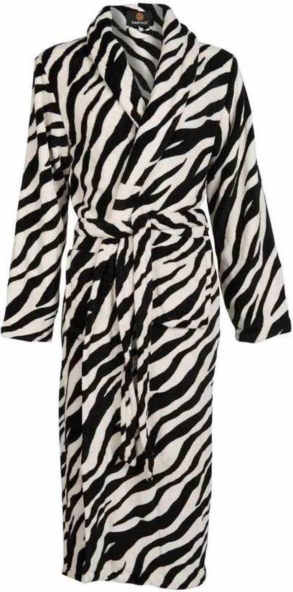 Badjas zebra maat S/M - fleece badjas dames - sjaalkraag - kuitlengte - Badrock