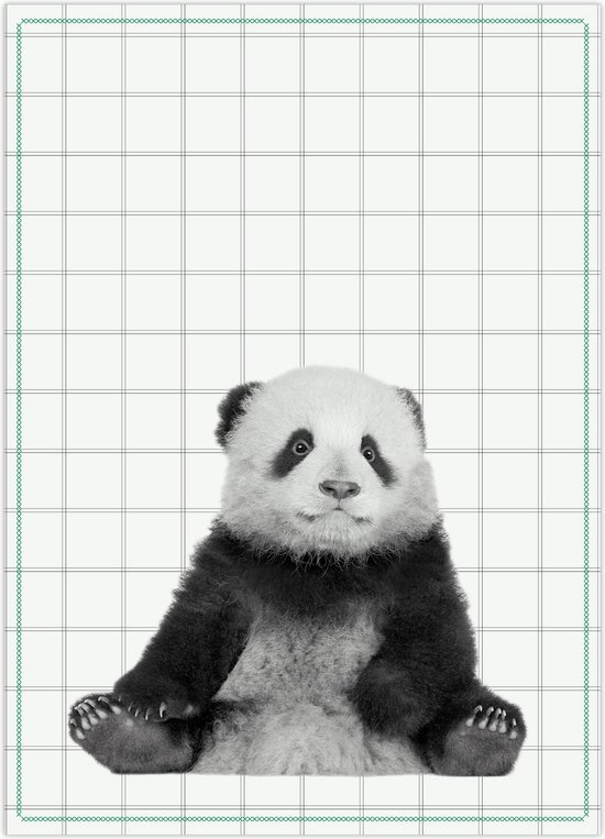 Tea towel Panda w. cotton green stitch