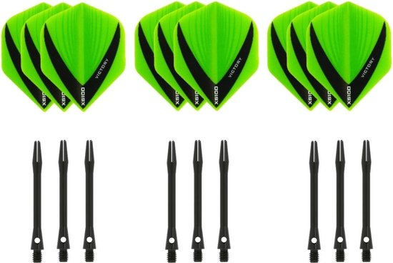 Dragon darts - 3 sets - XS100 Vista - Groen - Darts flights - plus 3 sets - aluminium - darts shafts - zwart - medium
