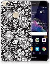 Huawei P8 Lite 2017 Uniek TPU Hoesje Black Flowers
