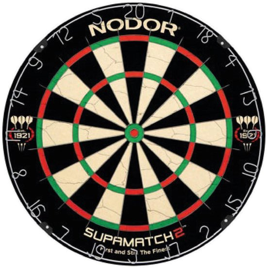 Dartset - Nodor Supamatch 2 dartbord - surround ring zwart - Bullet dartmat oranje - plus 2 sets dartpijlen (23 gram) inclusief accessoires
