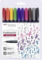 Tombow Brush Pen Fudenosuke Colour 10er-Set + Dotted Papier A5 schetsblok 80 vel, 90 g/m²