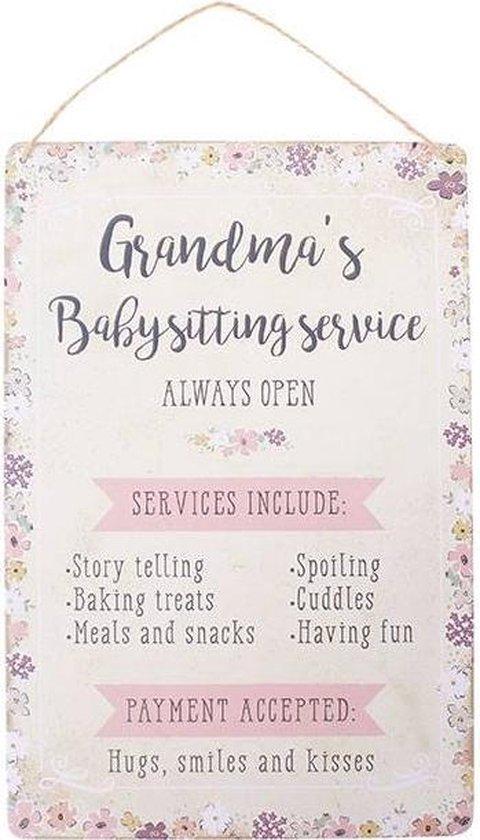 Grandma's Babysitting Service Sign Oma Grootmoeder Oppassen Oppas Bordje Decoratie