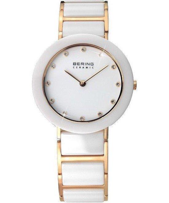 BERING Ceramic 11429-751 - Horloge - Staal | Keramiek - Goudkleurig | Wit - Ø 29 mm