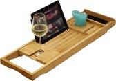 IVOL badplank van bamboe verstelbaar - badbrug hout met badrek houders