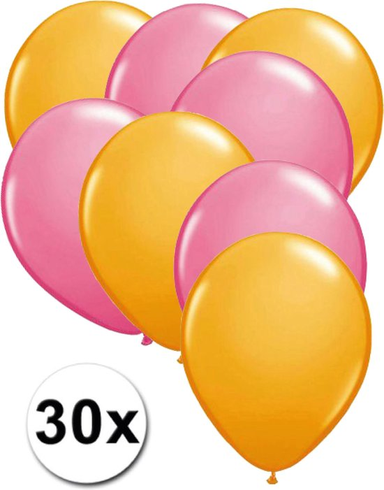 Ballonnen Oranje & Roze 30 stuks 27 cm