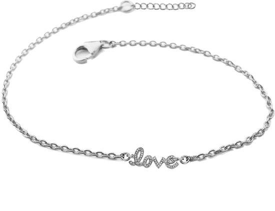 Silventi 910471919 Zilveren armband - tekst LOVE - 17 + 3 cm - Zilverkleurig