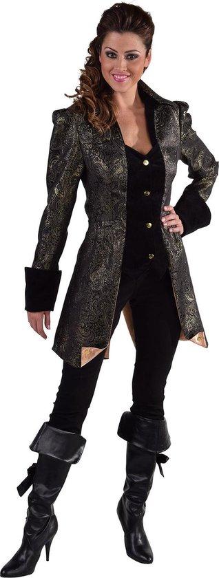 Middeleeuwen & Renaissance Kostuum | Met Brokaat Versierde Mantel En Vest Hertogin Zwart | Vrouw | Small | Carnaval kostuum | Verkleedkleding