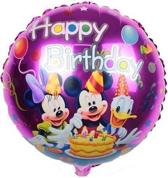 Grote happy birthday mickey mouse en donald duck ballon 45 cm