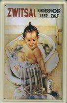 Zwitsal reclame Kinderpoeder Zeep Zalf reclamebord 10x15 cm