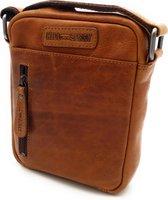 Hill Burry - VB10089 - 3169 - echt leren - schoudertas – crossbodytas- stevig - vintage leder- bruin /cognac