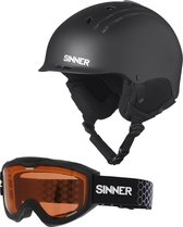 Sinner Combi-Pack ( Pincher + Lakeridge ) Unisex Skihelm & -bril - Matte Black - M/58 cm