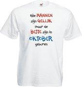 Mijncadeautje - T-shirt - wit - maat L - Alle mannen zijn gelijk - oktober