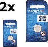 2 Stuks Renata CR1632 137mAh 3V Lithium Knoopcel Batterij