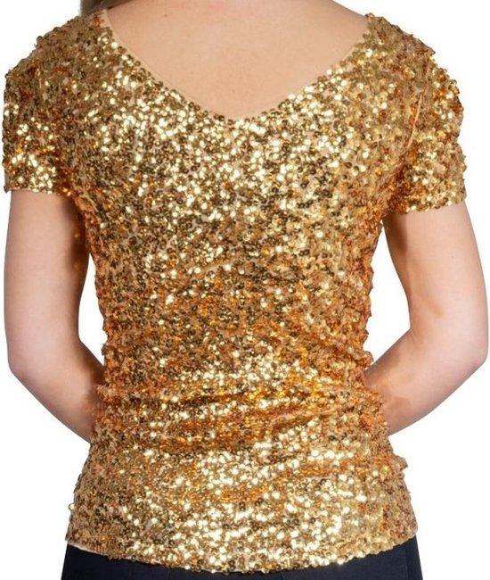 Beste bol.com | Gouden glitter pailletten disco shirt dames - Gouden MG-12