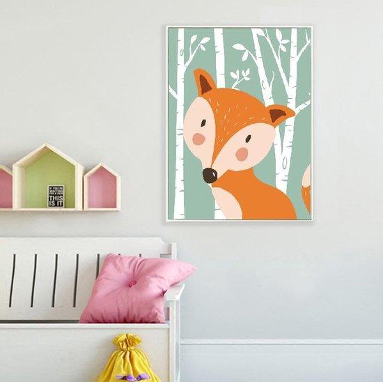 Postercity - Design Canvas Poster Vos in het Bos / Kinderkamer / Muurdecoratie / 40 x 30cm / A3