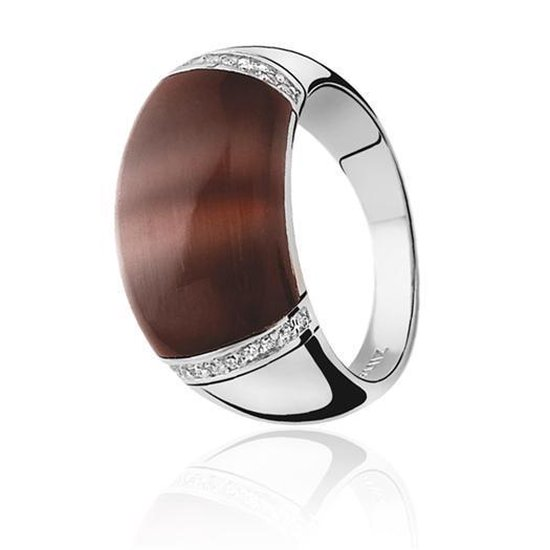 Zinzi - Zilveren Ring - Bruine Cateye - Zirkonia - Maat 54 (ZIR794C54)